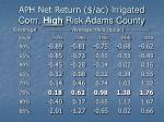 aph net return ac irrigated corn high risk adams county