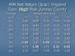 aph net return ac irrigated corn high risk juneau county