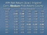 aph net return ac irrigated corn medium risk adams county