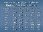 aph net return ac soybeans medium risk adams county