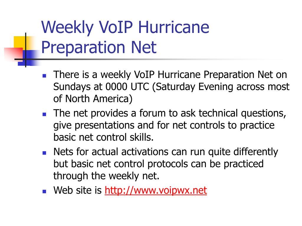 Weekly VoIP Hurricane Preparation Net
