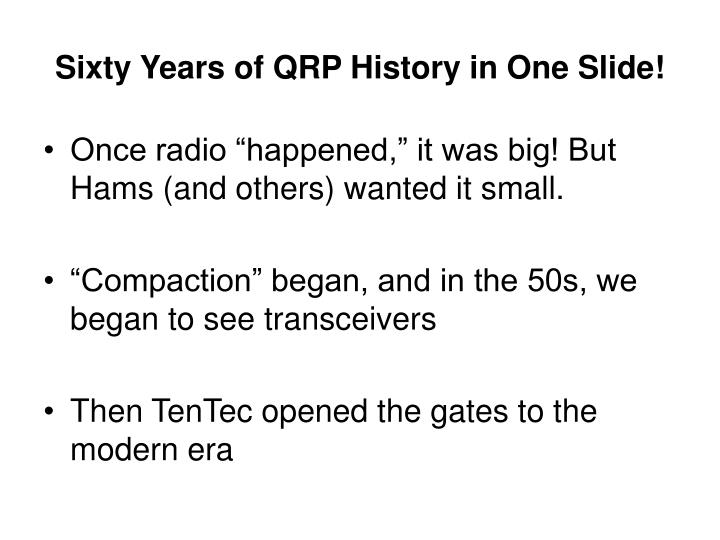 Sixty years of qrp history in one slide