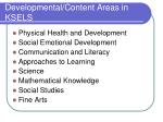 developmental content areas in ksels