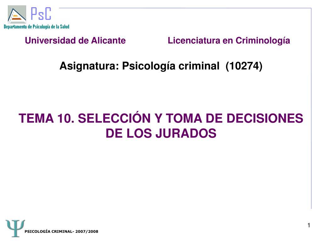 asignatura psicolog a criminal 10274 tema 10 selecci n y toma de decisiones de los jurados l.