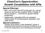chemcon s opportunities growth constellation with apis