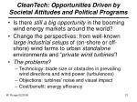 cleantech opportunities driven by societal attitudes and political programs