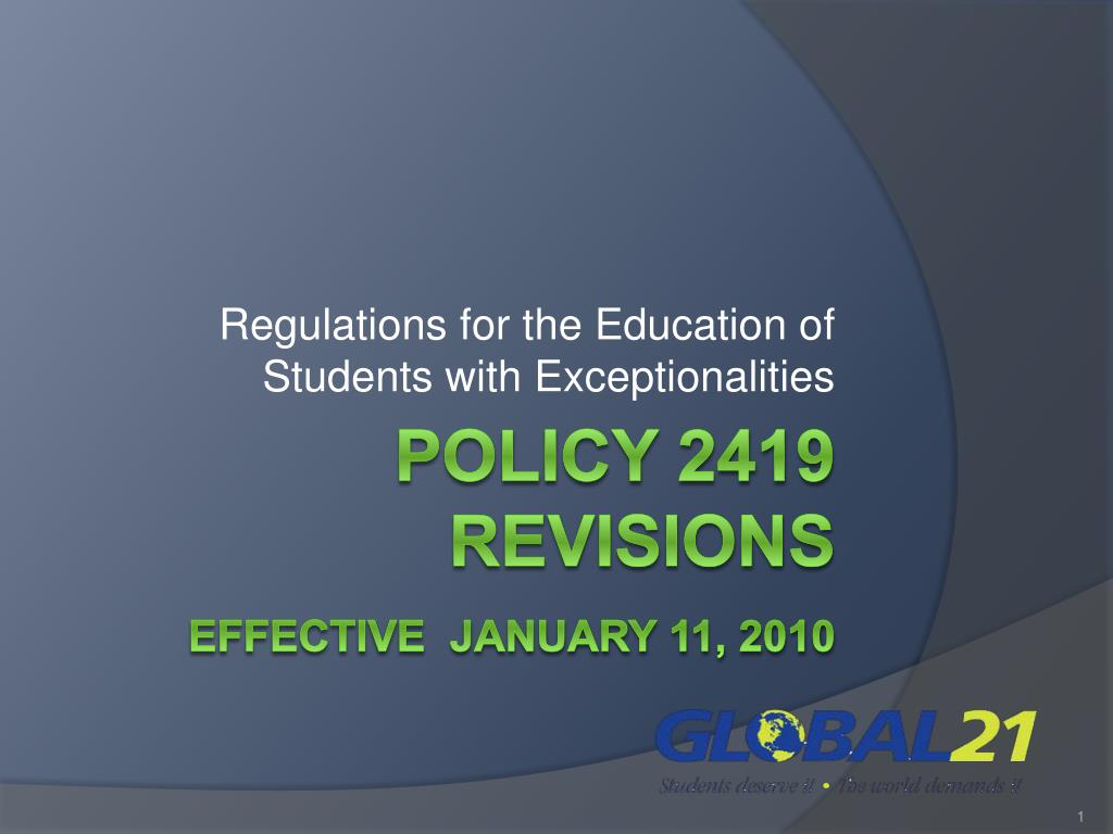 regulations for the education of students with exceptionalities l.