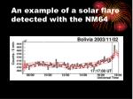 an example of a solar flare detected with the nm64