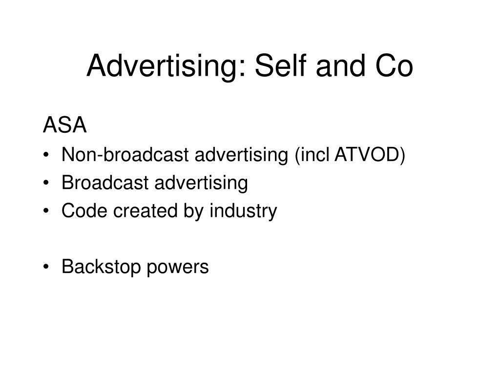 Advertising: Self and Co
