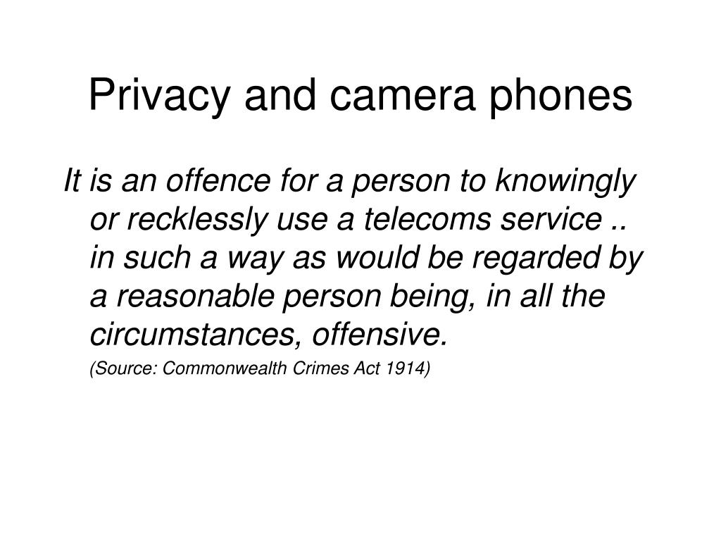Privacy and camera phones