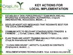 key actions for local implementation