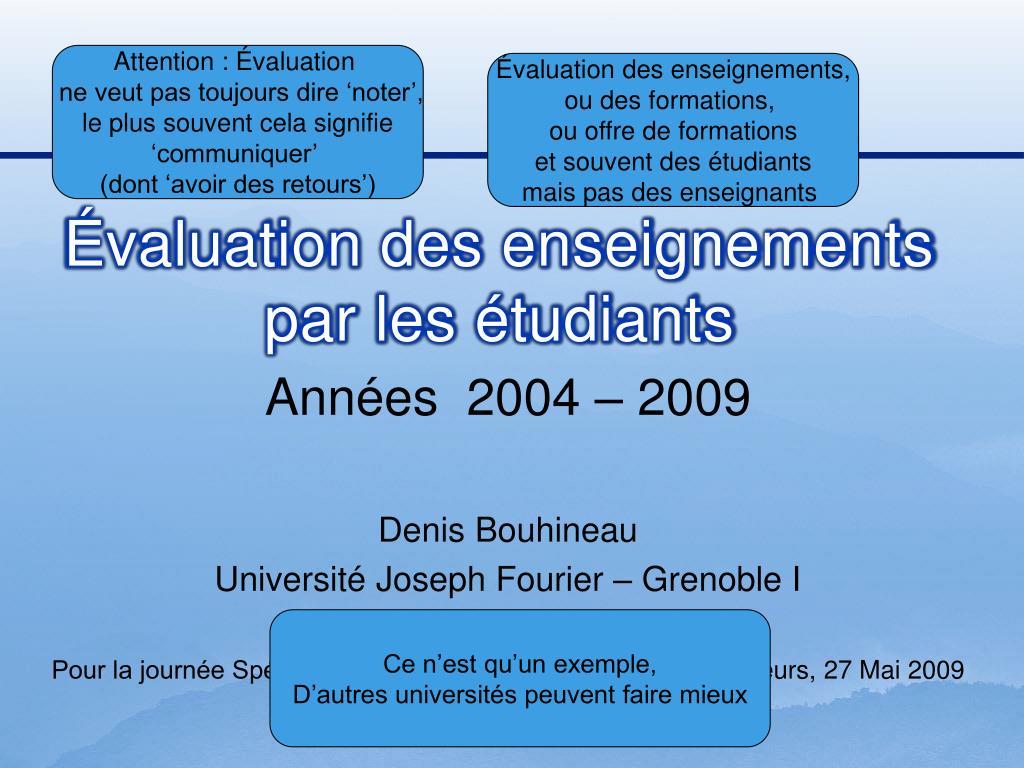 valuation des enseignements par les tudiants l.