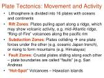 plate tectonics movement and activity