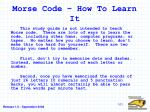 morse code how to learn it