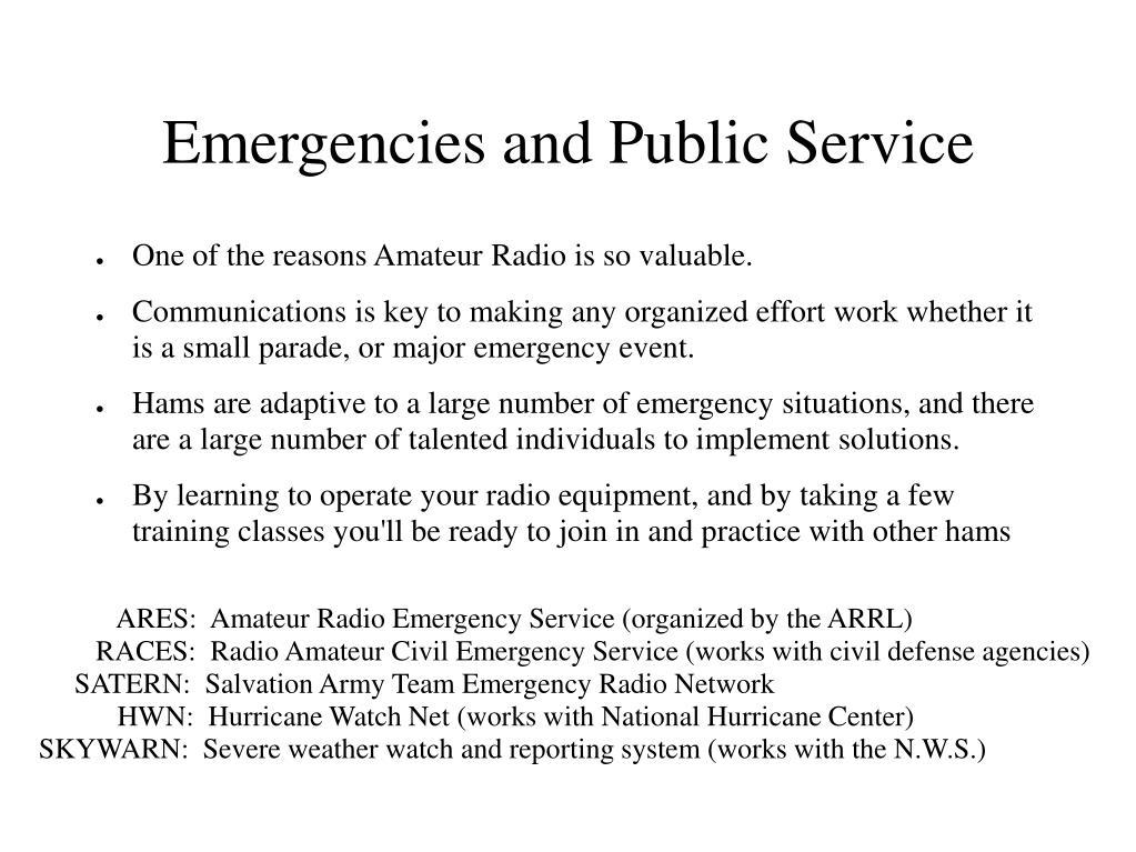 Emergencies and Public Service