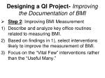 designing a qi project improving the documentation of bmi4