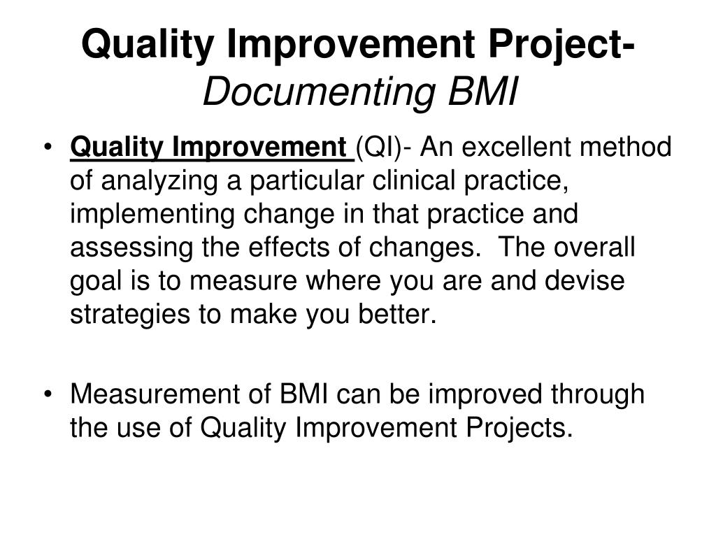 quality improvement project documenting bmi l.