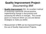 quality improvement project documenting bmi