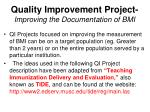 quality improvement project improving the documentation of bmi