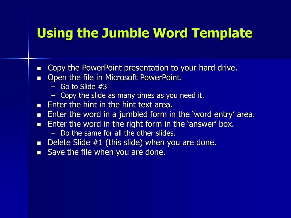 using the jumble word template l.