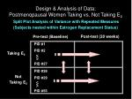 design analysis of data postmenopausal women taking vs not taking e 2