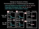 design analysis of data premenopausal vs postmenopausal women