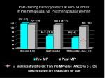 post training hemodynamics at 60 vo 2 max in premenopausal vs postmenopausal women