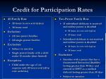 credit for participation rates