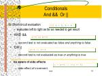 conditionals and or