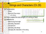 strings and characters ch 29