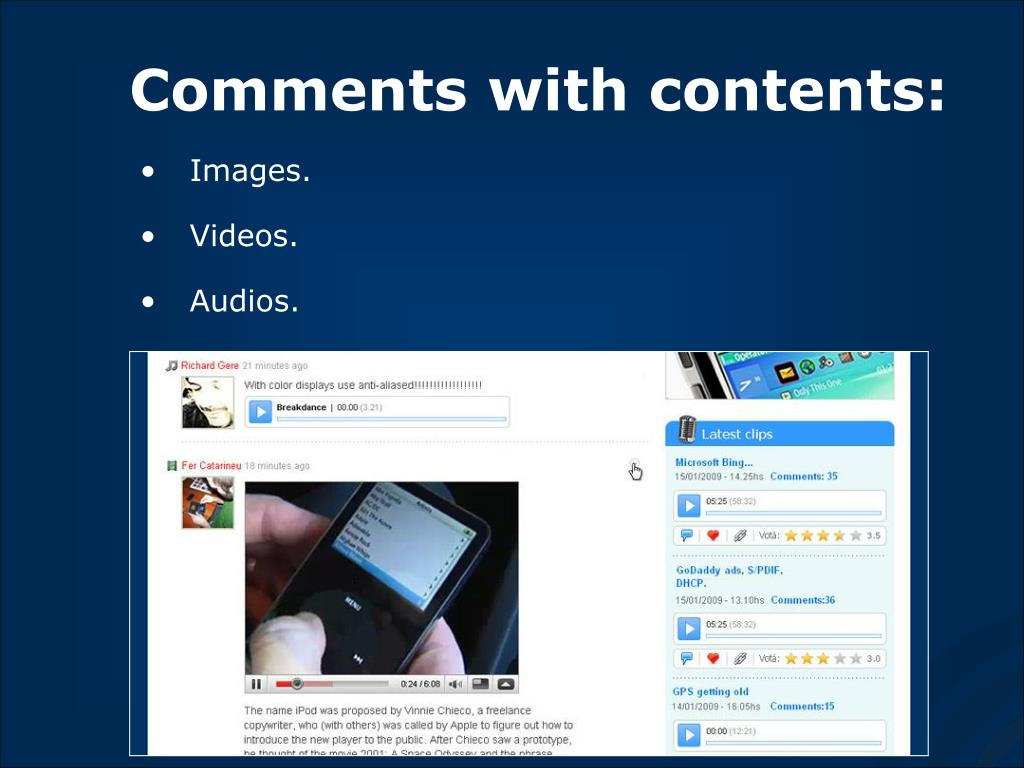Comments with contents: