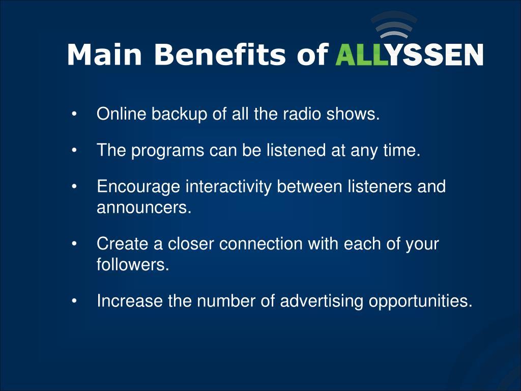 Main Benefits of