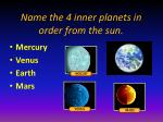 name the 4 inner planets in order from the sun