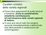 caratteri sintattici delle variet regionali