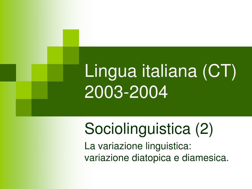 lingua italiana ct 2003 2004 l.