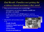 end result families not getting the evidence based assistance they need
