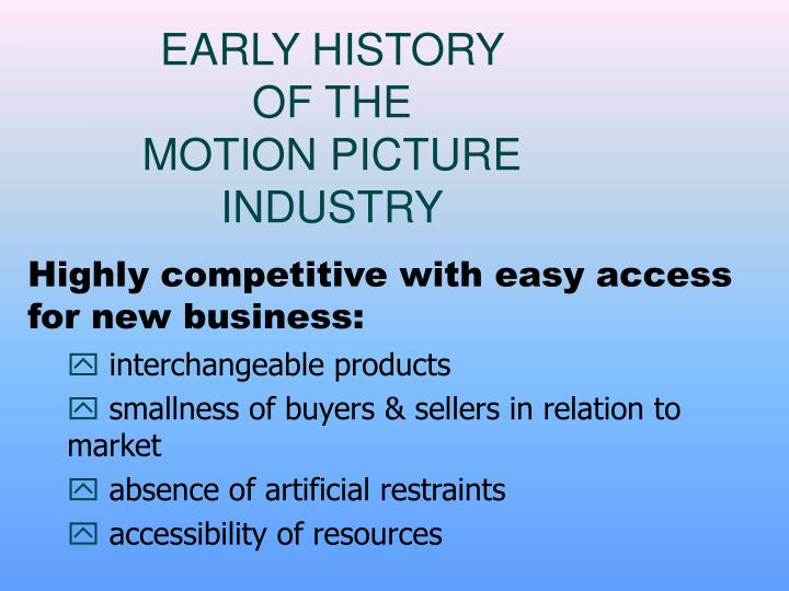 Early history of the motion picture industry
