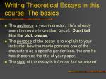 writing theoretical essays in this course the basics