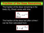 fraction of the dose remaining