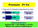 pressure p f a23