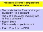 pressure volume temperature relationships