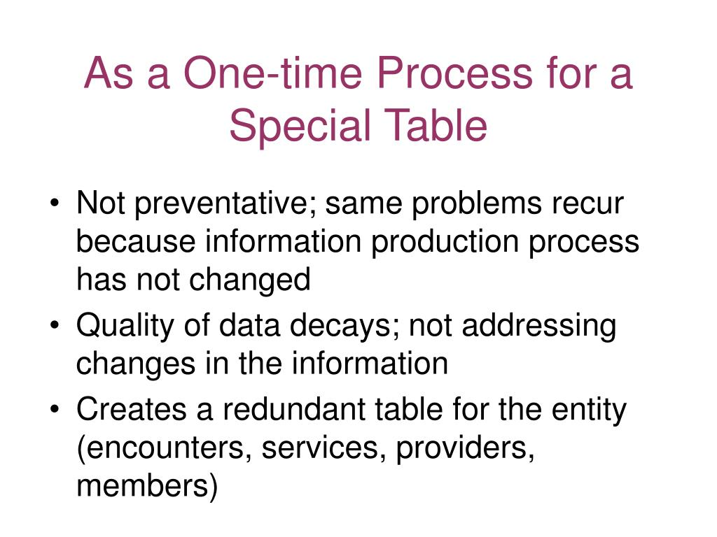 As a One-time Process for a Special Table