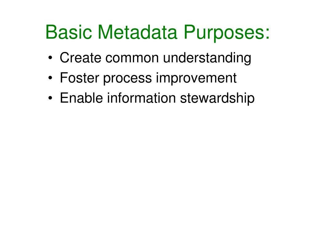 Basic Metadata Purposes: