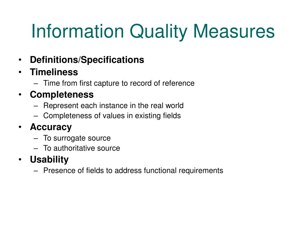 Information Quality Measures