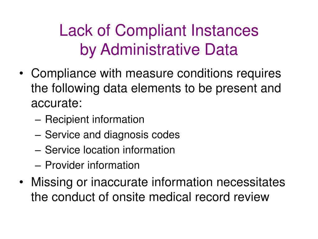 Lack of Compliant Instances