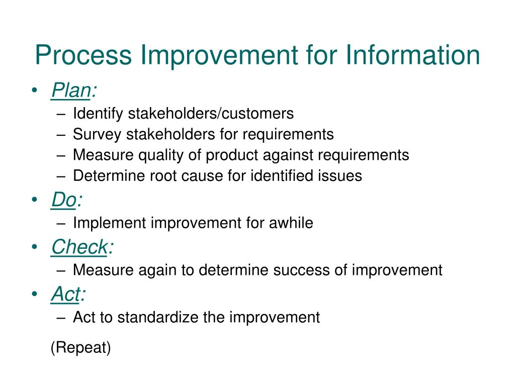 Process Improvement for Information