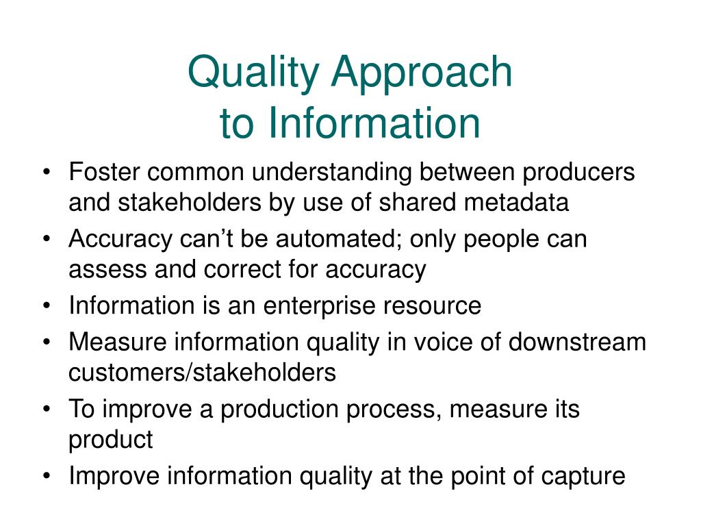 Foster common understanding between producers and stakeholders by use of shared metadata