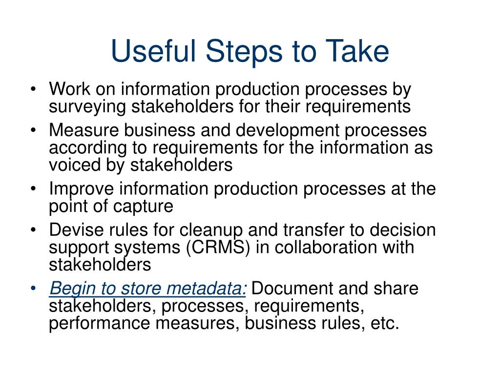 Useful Steps to Take