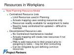 resources in workplans