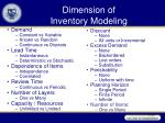 dimension of inventory modeling